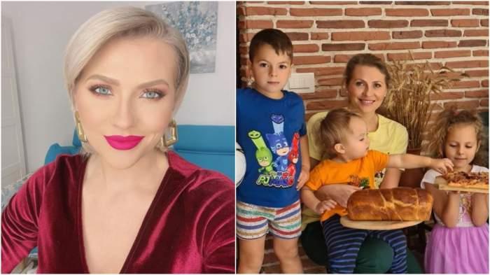 Colaj cu Mirela Vaida cu rochie roșie/ Mirela Vaida alături de cei mici.
