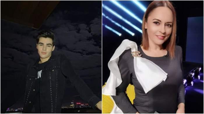 Colaj cu Radu Stefan Banică cu geacă neagră/ Andreea Marin în rochie neagră cu fundă albă.