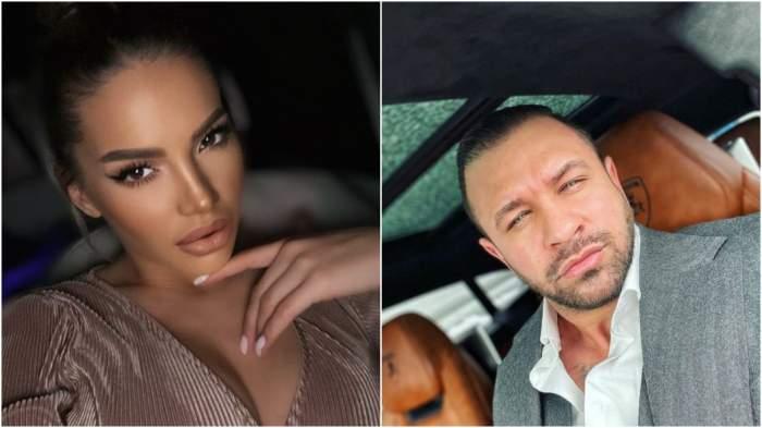 Colaj cu Iulia Sălăgean cu decolteu/ Alex Bodi la costum, în mașină.