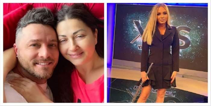 """În stânga Gabriela Cristea și Tavi Clonda își face un selfie în pat, iar în dreapta Maria Constantin poartă o rochie neagră și se află în platou la """"Xtra Night Show""""."""