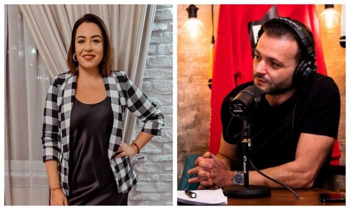 Oana Roman in living, poarta un sacou un carouri alb cu negru, are mana in sold si zambeste, Mihai Morar este la podcast, care un tricou negru, se sprijina de masa