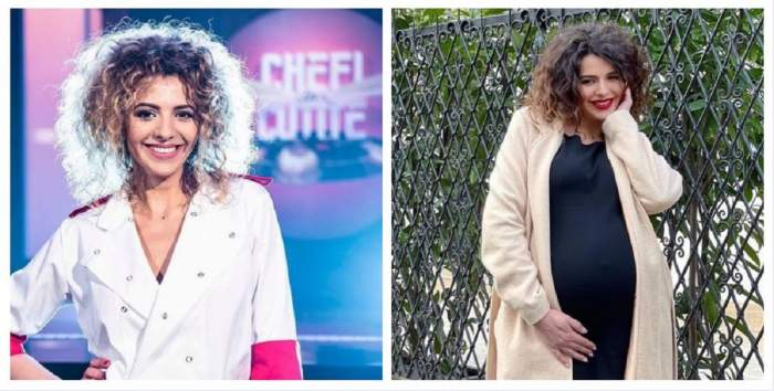 Un colaj cu Like Creața. În prima poză poartă uniformă albă de bucătar, cu manșete roșii, și se află la Chefi la cuțite, iar în a doua e afară și poartă o rochie neagră și cardigan crem.