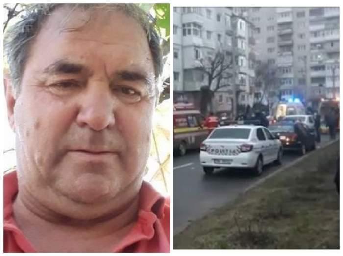 Colaj foto cu criminalul de la Onești și mașinile d epoliție