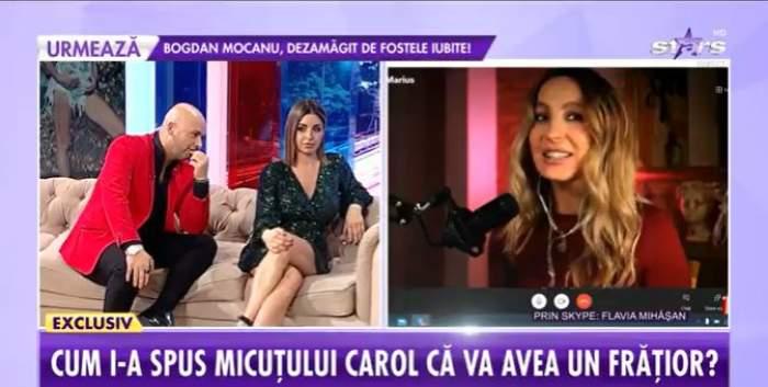Captură cu Flavia Mihășan, Andrei Ștefănescu și Natalia Mateuț.