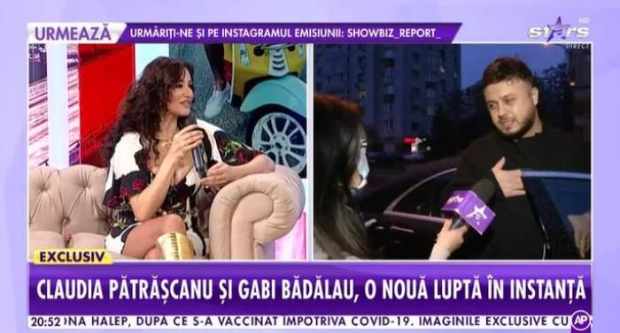 Captură cu Claudia Pătrășcanu în platou la Showbiz Report.