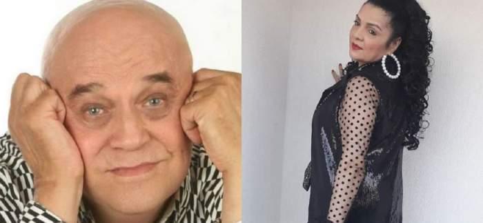 În stânga e o poză cu Benone Sinulescu care-și susține fața în mâini. În dreapta Cornelia Catanga ține mâna pe un perete și poartă o bluză transparentă, iar pe deasupra un sacou negru cu paiete.