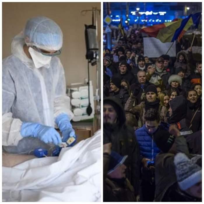 Colaj foto cu un medic iîn spital și românii care participă la protest
