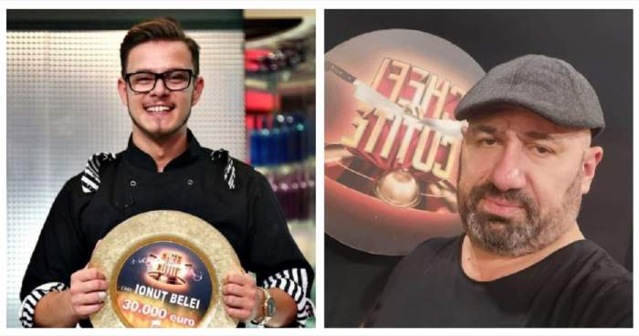 Un colaj cu Cătălin Scărlătescu și Ionuț Belei. Amândoi se află la Chefi la cuțite. Ionuț Belei ține în mână premiul de 30.000 de euro, iar Cătălin Scărlătescu își face un selfie.