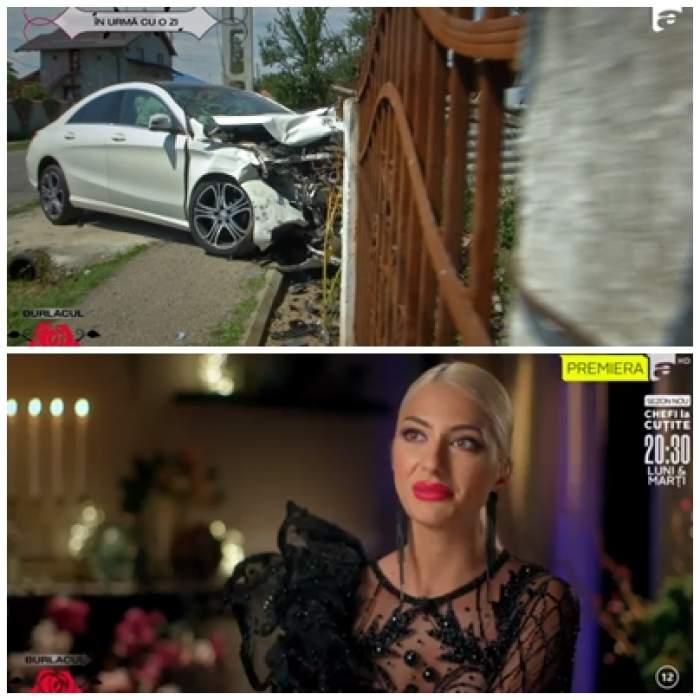 Colaj foto cu Rodica Budurcă și mașina lovită