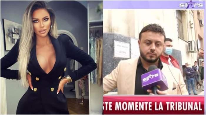 Colaj cu Bianca Drăgușanu în rochie neagră/ Gabi Bădălău în timp ce dă declarații.