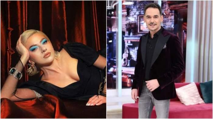 Colaj cu Lidia Buble în rochie neagră/ Răzvan Simion în platou la Neatza.