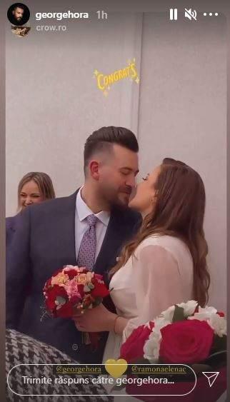 George Hora în timp ce se sărută cu iubita sa.