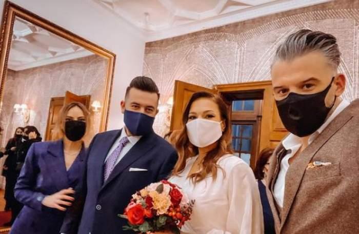 Roxana Ionescu și Tinu Vidaicu, alături de George Hora și iubita sa.