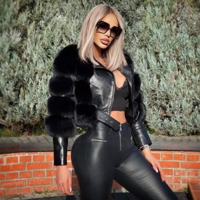 Bianca Drăgușanu îmbrăcată în geacă și pantaloni de piele.