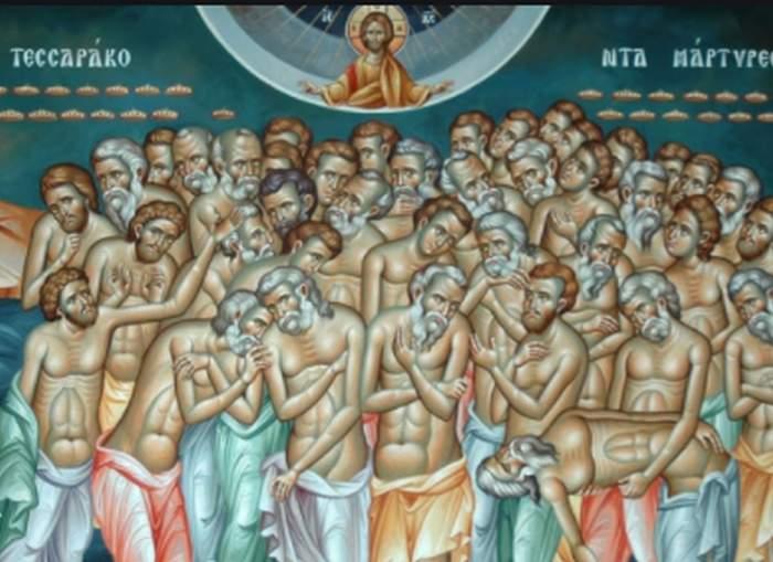 imagine cu Sfintii 40 de Mucenici praznuiti in fiecare an pe data de 9 martie
