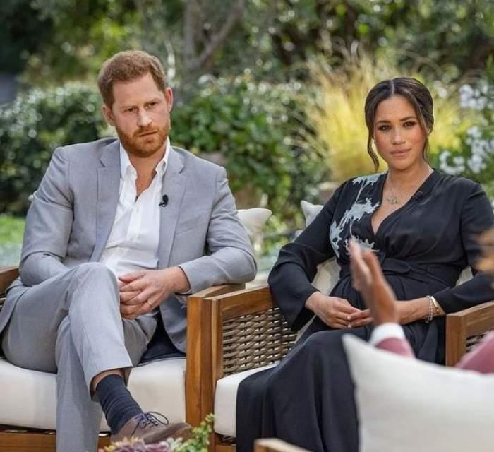 Meghan Markle și prințul Harry în cadrul unui interviu.