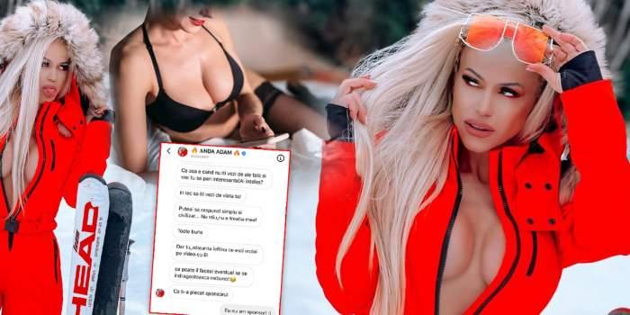 """SUPEREXCLUSIVITATE! Anda Adam, scandal cu amenințări, umilințe și jigniri cu femeia care """"vrăjea"""" cu soțul său pe Instagram! Avem mesajele!"""
