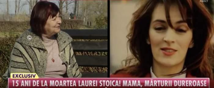 Mama Laurei Stoica în timpul unui interviu.