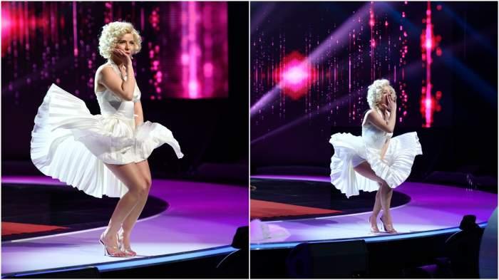 """Marilyn Monroe, apariție spectaculoasă pe scena de la iUmor! Cine este actrița care l-a """"vrăjit"""" pe Mihai Bendeac"""