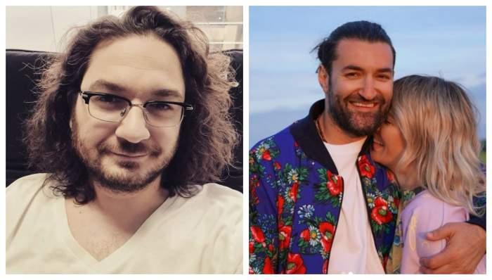 Florin Dumitrescu este pe canapea, poarta un tricou alb, Gina Pistol rade si sta in brate la Smiley, el zambeste larg si poarta o jacheta albastra cu flori rosii