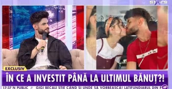 Colaj foto cu Edwardn Sanda aflat la Antena Stars și o fotografie cu el și Clopatra Stratan sărutându-se