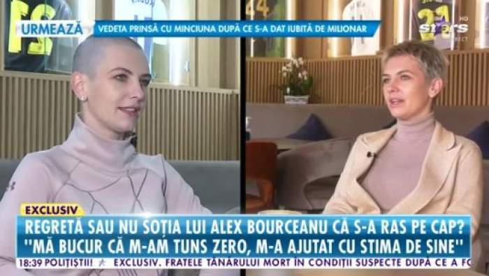 Colaj foto cu Adina Bourceanu, tunsă la zero și periuță