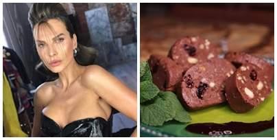 Colaj foto cu Anna Lesko și o farfurie cu salam de biscuiți