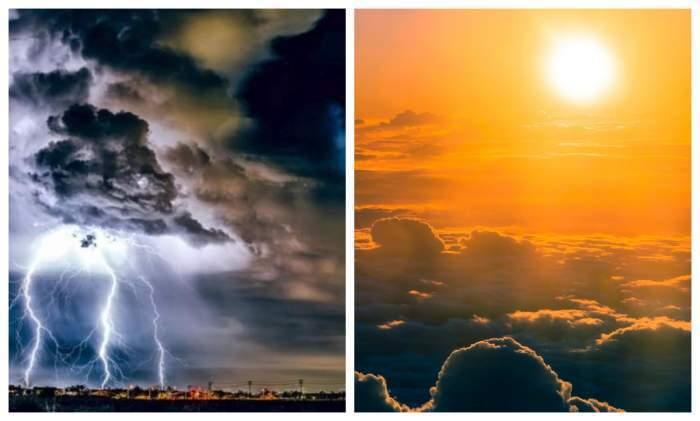Colaj foto cu o vreme caldă și una ploioasă