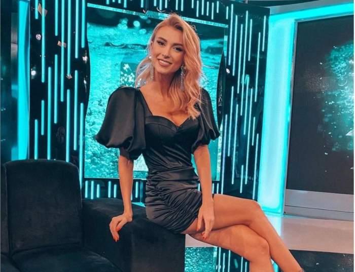 Andreea Balan, la Xtra Night Show, poarta o rochie scurta neagra