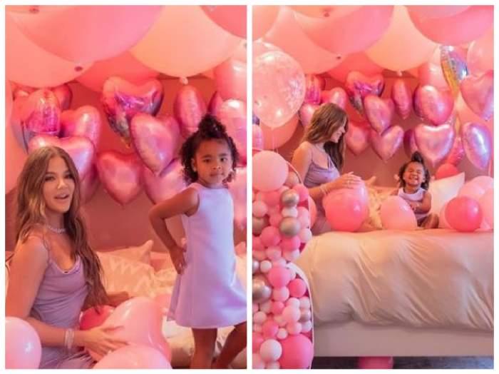 Khloe Kardashian și fetița ei la aniversarea acesteia