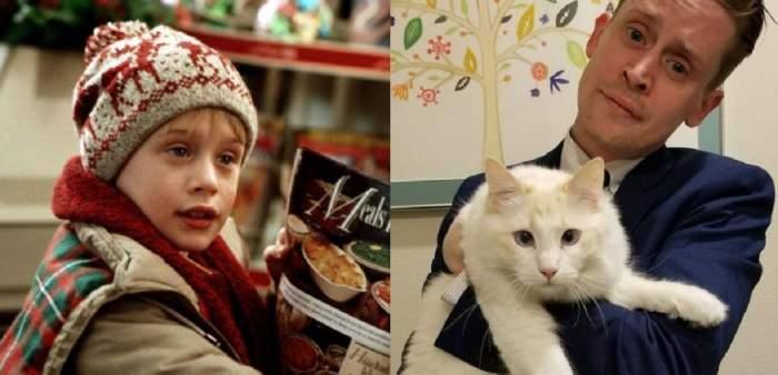 """Un colaj cu Macaulay Culkin. În prima poză era în filmul """"Singur acasă"""", iar în a doua poartă costum albastru și ține în brațe o pisică."""