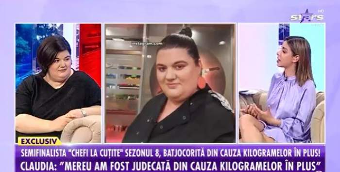 Captură video cu Claudia Radu în patou la Antena Stars.