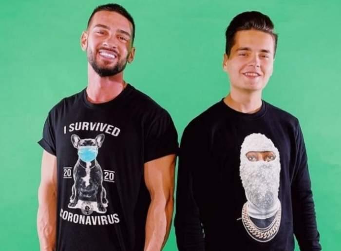 Dorian Popa și Selly, zâmbitori, îmbrăcați în tricou și hanorac negru