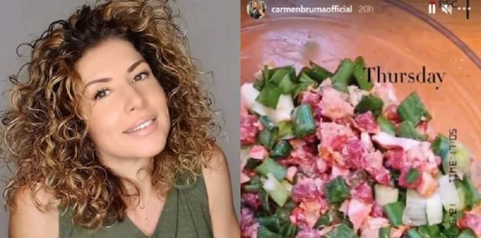 Un colaj cu Carmen Brumă și salata făcută de ea. Vedeta poartă un maiou verde.