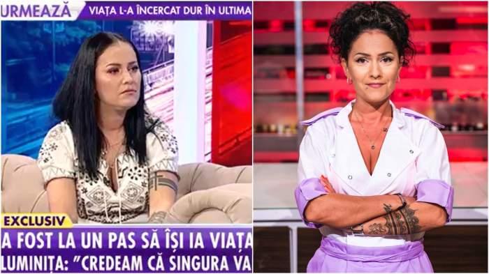 Colaj cu Luminița Borcean în platou la Antena Stars/ Luminița Borcean în bucătăria Chefi la cuțite.