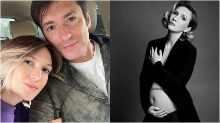 Colaj cu Adela Popescu și Radu Vâlcan îmbrățișați/ Adela Popescu, ședință foto cu burtica de gravidă.