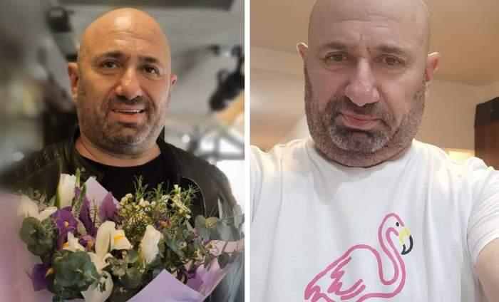 in poza din stanga Cătălin Scărlătescu cu un buchet de flori si in dreapta tot Cătălin Scărlătescu cu un flamingo pe tricou