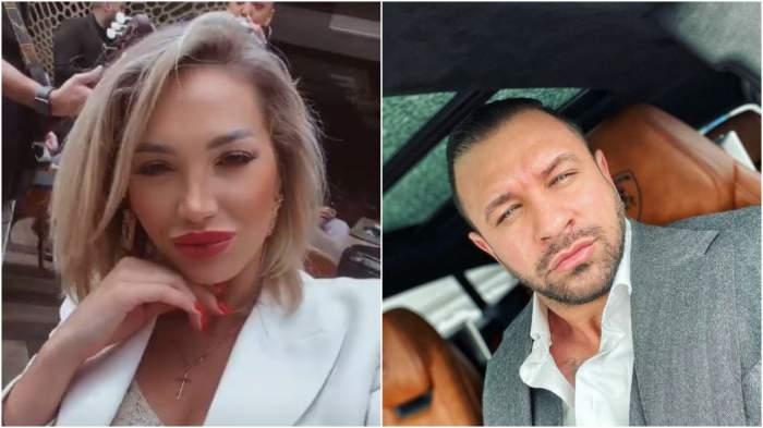 Colaj cu chipul Iuliei Sălăgean/ Alex Bodi în mașină, la costum.
