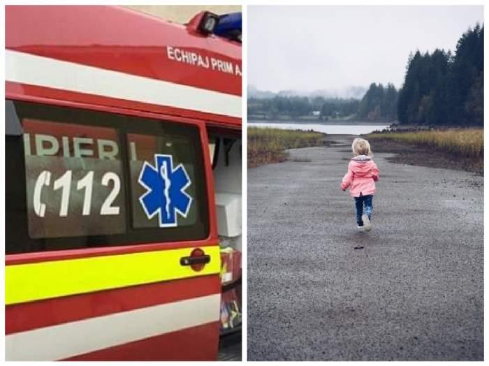 Ambulanță SMURD și o fetiță