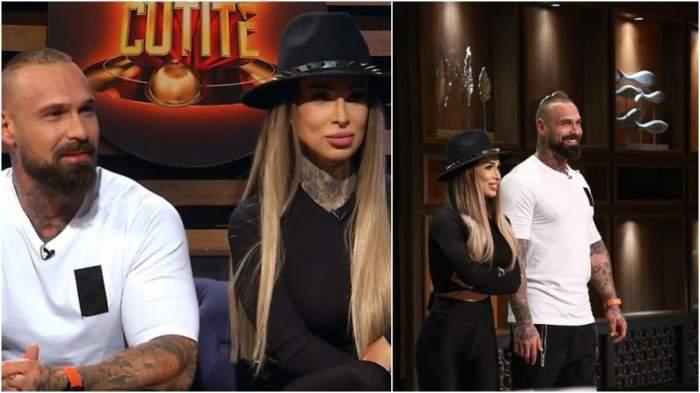 Captură video cu Michelle și Laurențiu Nedelcu în platou la Chefi la cuțite.