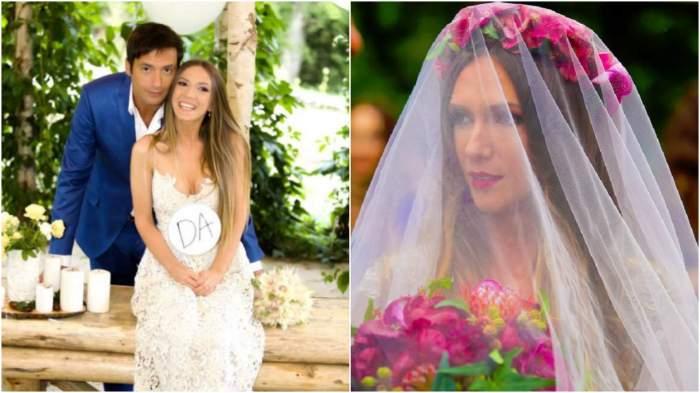 Colaj cu imagini de la nunta Adelei Popescu cu Radu Vâlcan.