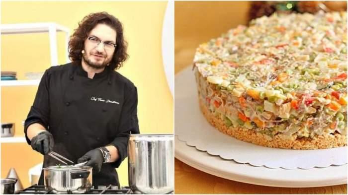 Colaj cu Florin Dumitrescu în bucătăria Chefi la cuțite/ salată de boeuf pe farfurie.