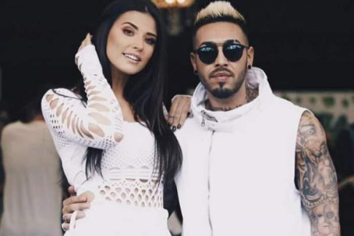 Antonia și Alex Velea îmbrățișați, îmbrăcați în albi.