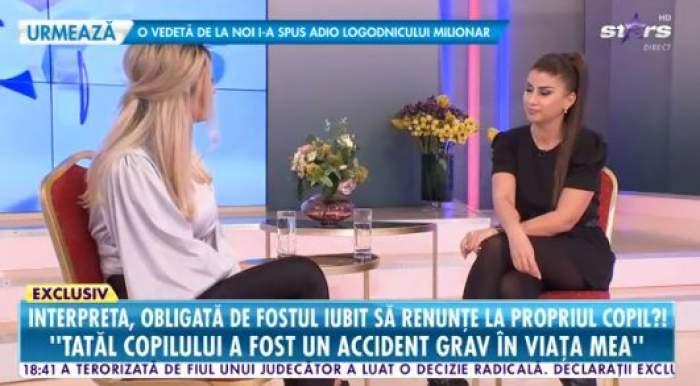 Alina Radi, îmbrăcată în negru, interviu la Antena Stars