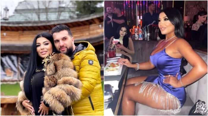 Colaj cu Tzanca Uraganu în brațe cu Alina/ Alina Marymar în rochie albastră, în club.