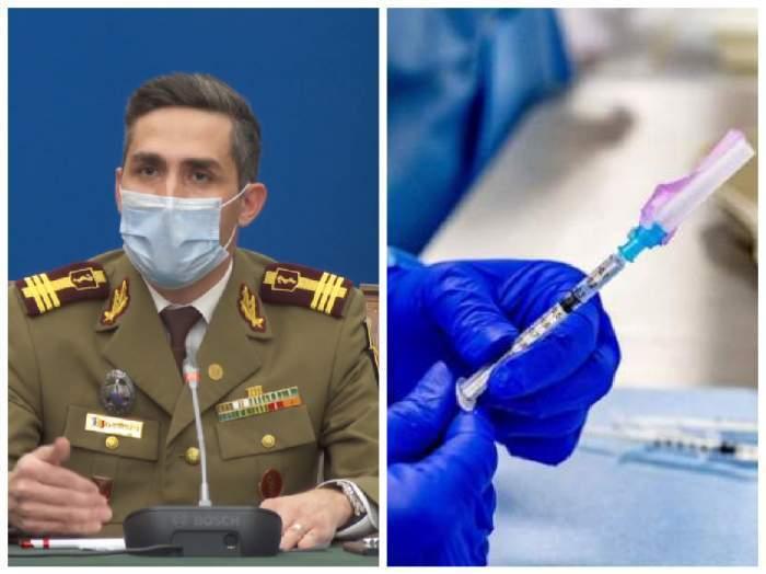 Colaj foto cu Valeriu Gheorghiță și un medic cu o seringă în mână