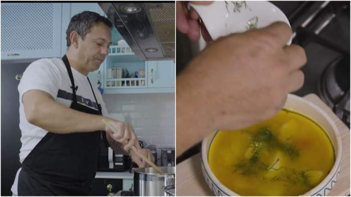 Captură video cu Sorin Bontea în timp ce gătește.