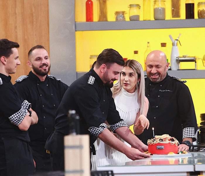 Cătălin Rizea, Adda și Cătălin Scărlătescu, în platoul Chefi la cuțite