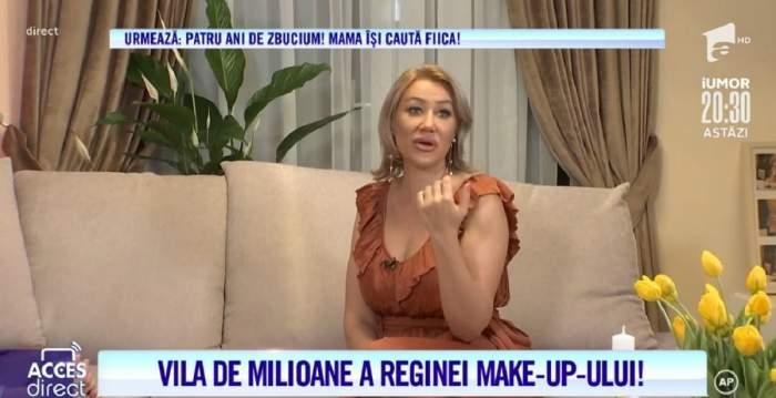 """Acces Direct. Imagini de senzație din vila """"reginei make-up-ului""""! Secretul succesului Sabinei Cornea: """"De mică dădeam banii pe cosmetice"""" / VIDEO"""