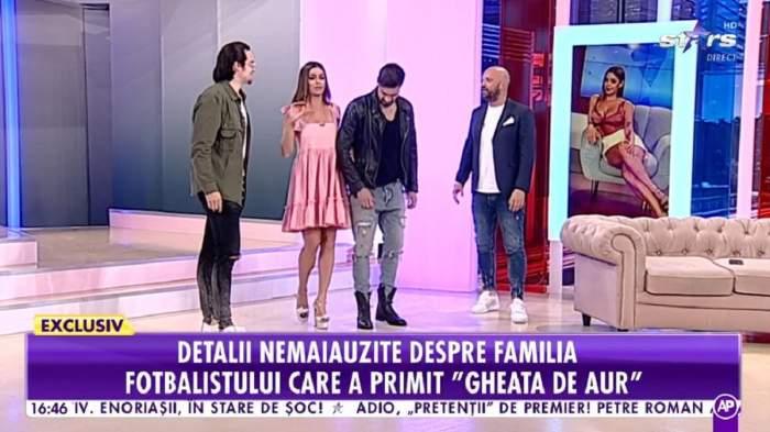 Natalia Mateuț se află alături de verișorii ei și Andrei Ștefănescu în platoul Antena Stars. Prezentatoarea poartă o rochiță roz.